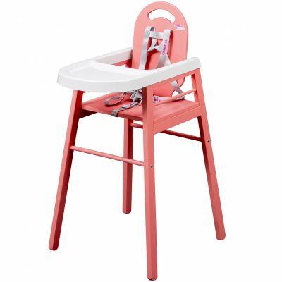 Chaise haute lili en bois massif laqu rose combelle for Chaise haute en bois combelle