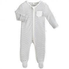 Pyjama chaud Zip Up rayé (0-3 mois)