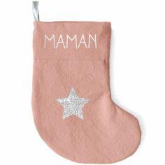 Chaussette de Noël rose poudré étoile (personnalisable)