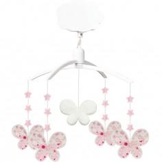 Mobile musical papillon Fleurs Roses