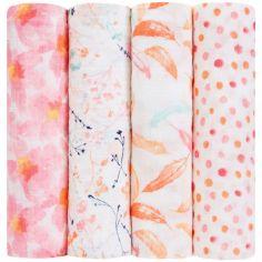 Lot de 4 maxi langes Petal Blooms (120 x 120cm)