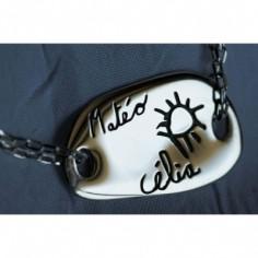 Bracelet empreinte galet carré 2 trous sur double chaîne 14 cm (argent 925°)