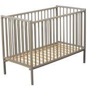 Lit à barreaux Rémi en bois massif laqué gris clair (70 x 140 cm) - Combelle