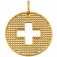 Médaille Signes Croix trouée 16 mm (or jaune 750°)