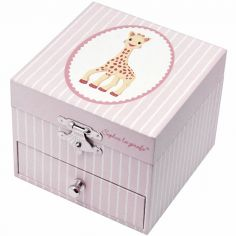 Boîte à bijoux musicale phosphorescente Sophie La Girafe rose