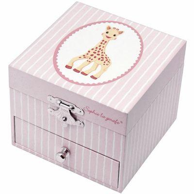 Boîte à bijoux musicale phosphorescente Sophie La Girafe rose  par Trousselier