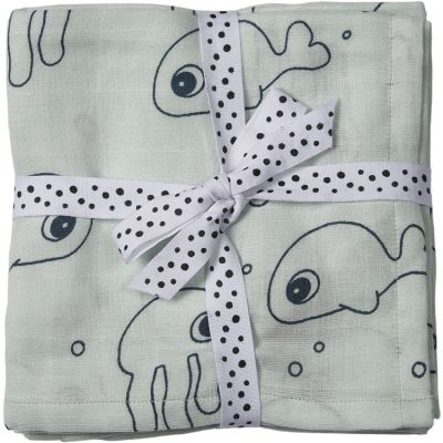 Lot de 2 maxi langes Sea Friends bleu clair (120 x 120 cm)  par Done by Deer