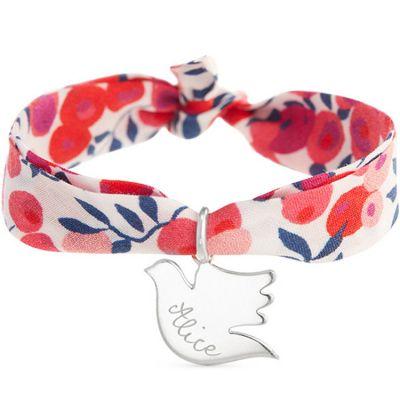Bracelet maman Liberty avec colombe personnalisable (argent 925°)  par Merci Maman