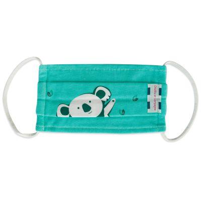 Masque de protection lavable Fun en coton koala vert (4-7 ans)