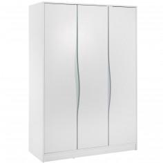 Armoire 3 portes Wave étagère haute blanche et pastel