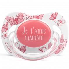 Sucette physiologique Je t'aime Maman papillon rose (6-18 mois)