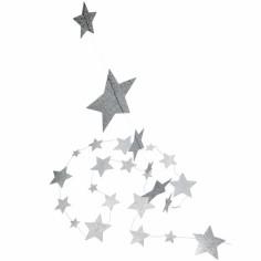 Guirlande étoiles argent  pailleté
