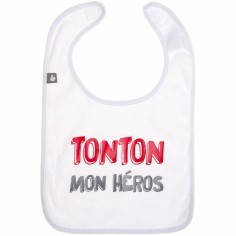 Bavoir à velcro coton Tonton mon héros blanc