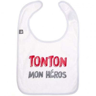 Bavoir à velcro coton Tonton mon héros blanc  par BB & Co