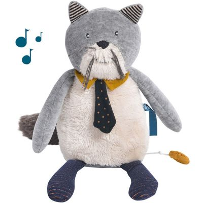 Peluche musicale chat Fernand Les Moustaches (27 cm) Moulin Roty