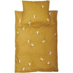 Housse de couette + taie d'oreiller tigre jaune (70 x 100 cm)