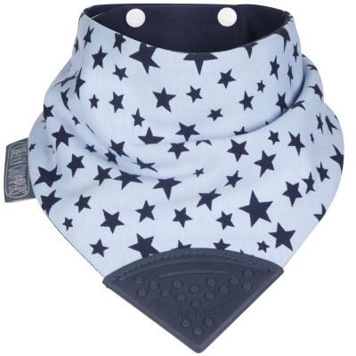 Bavoir bandana étoiles bleues avec embout de dentition  par Cheeky Chompers
