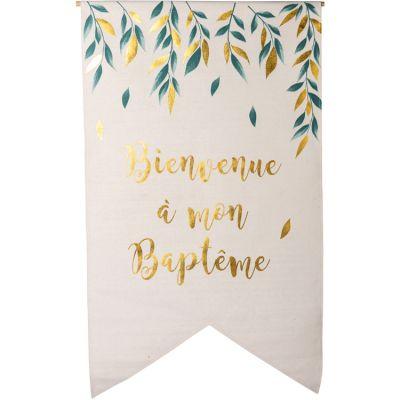 Tenture en lin Bienvenue à mon Baptême de rêve