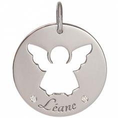 Médaille Léane personnalisable 17,5 mm (or blanc 750°)