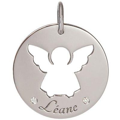 Médaille Léane personnalisable 17,5 mm (or blanc 750°)  par Je t'Ador