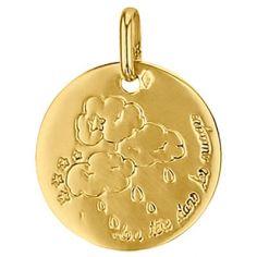 Médaille ronde La tête dans les nuages 16 mm (or jaune 750°)