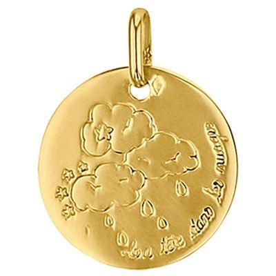 Médaille ronde La tête dans les nuages 16 mm (or jaune 750°)  par Premiers Bijoux