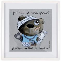 Affiche encadrée Quand je serai grand je serai docteur de doudou (50 x 50 cm )