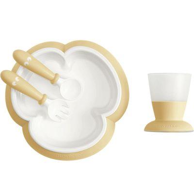 Coffret repas bébé jaune pastel (4 pièces)