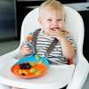 Assiette ventouse Catch plate orange et bleu  par Boon