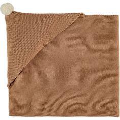 Couverture tricotée à capuche marron So Natural (65 x 65 cm)