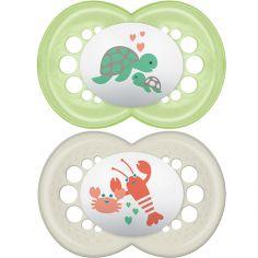Lot de 2 sucettes anatomiques Original tortue et homard en silicone (6 mois et +)