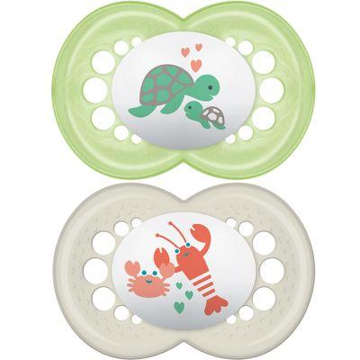 Lot de 2 sucettes anatomiques Original tortue et homard en silicone (6 mois et +)  par MAM