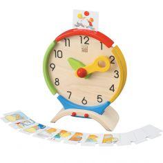 J'apprends l'heure avec l'horloge en bois d'hévéa