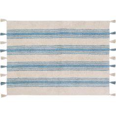 Tapis lavable rayé bleu pâle sur fond crème avec pompons (120 x 160 cm)