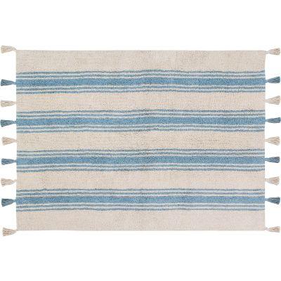 Tapis lavable rayé bleu pâle sur fond crème avec pompons (120 x 160 cm)  par Lorena Canals