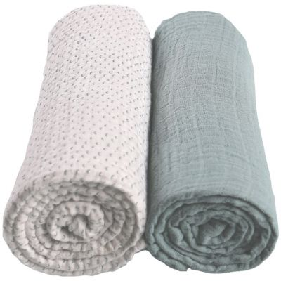 Lot de 2 draps housses coton bio vert d'eau Moris & Sacha (60 x 120 cm)  par Noukie's