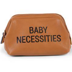 Trousse de toilette Baby necessities simili cuir brun