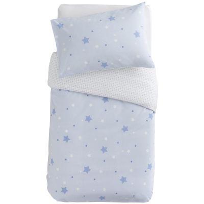 Housse de couette + taie d'oreiller imprimé Little stars étoiles bleues (100 x 140 cm)  par Domiva