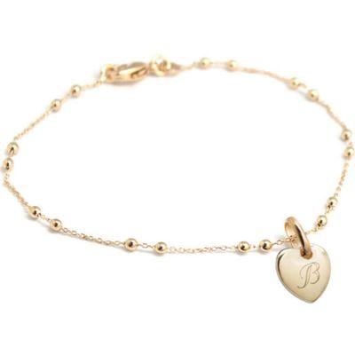Bracelet médaille coeur chaîne perlée personnalisable (plaqué or) Petits trésors