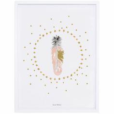 Affiche encadrée plume rose Flamingo by Lucie Bellion (30 x 40 cm)