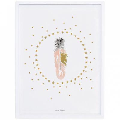 Affiche encadrée plume rose Flamingo by Lucie Bellion (30 x 40 cm)  par Lilipinso