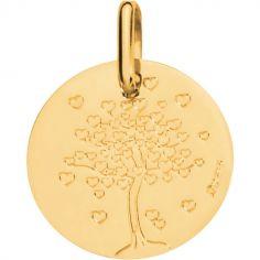 Médaille Arbre aux coeurs 16 mm personnalisable (or jaune 750°)