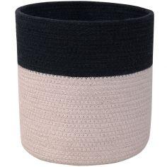 Panier de rangement en coton My Little Ones noir et gris (15 x 15 x 15 cm)