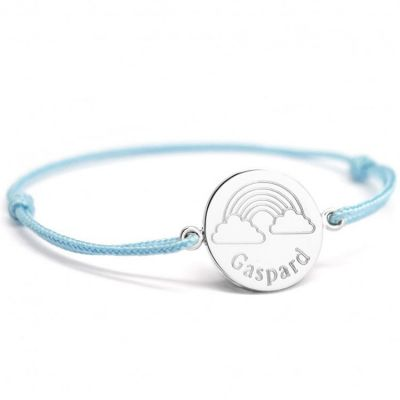 Bracelet cordon Arc-en-ciel personnalisable (argent 925°)  par Petits trésors