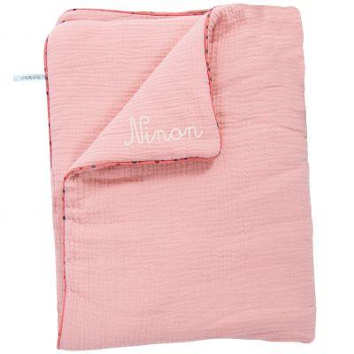 Couverture en coton rose Les Jolis trop beaux personnalisable (90 x 69 cm)
