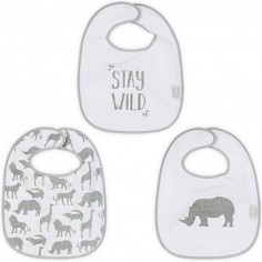 Lot de 3 bavoirs Safari gris