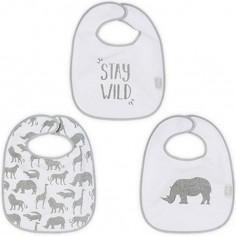 Lot de 3 bavoirs Safari gris
