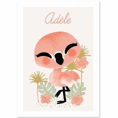 Affiche A3 les Animignons le flamant rose (personnalisable)