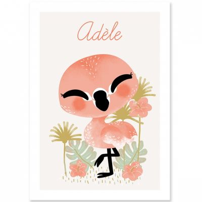 Affiche A3 les Animignons le flamant rose (personnalisable)  par Kanzilue