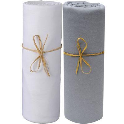Lot de 2 draps housses en coton bio blanc et gris foncé (70 x 140 cm)  par P'tit Basile
